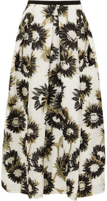 Erdem Elena Cotton-blend Fil Coupé Midi Skirt - White