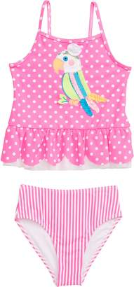 Flapdoodles Parrot Applique Polka Dot Tankini Two-Piece Swimsuit