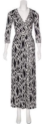 Diane von Furstenberg Silk Banded Julian Maxi Wrap Dress