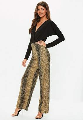 70c5cab25a Missguided Brown Zebra Wide Leg Trousers