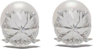 Tasaki Platinum Refined Rebellion Signature diamond and Akoya pearl earrings