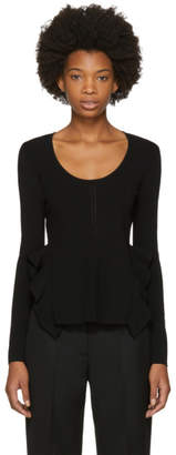 Opening Ceremony Black Long Sleeve Side Flounce T-Shirt