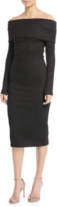 Oscar de la Renta Off-the-Shoulder Long-Sleeve Stretch Embroidered Cocktail Dress