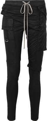 Rick Owens Memphis Shell-paneled Coated Stretch-denim Leggings - Black