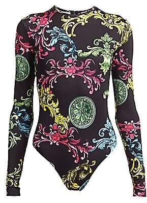 Versace Women's Scroll-Print Bodysuit