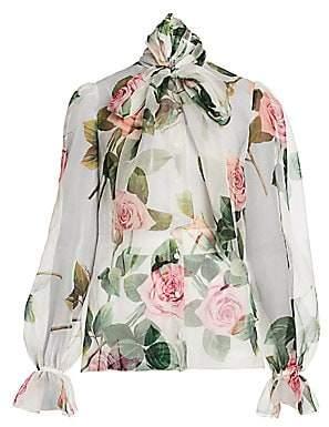 Dolce & Gabbana Women's Silk Organza Rose-Print Tieneck Blouse
