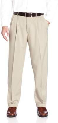 Haggar Men's Two Tone Herringbone Expandable Waist Pleat Front Dress Pant