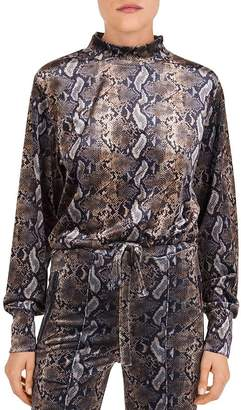 The Kooples Snakeskin-Print Fleece Sweatshirt