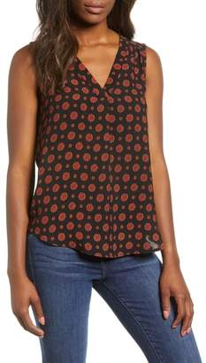 Gibson Stretch Crepe Split Neck Sleeveless Blouse