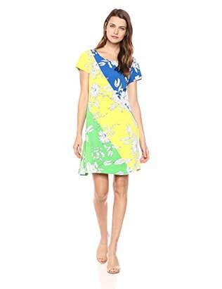 MSK Women's Cap Sleeve t-Shirt Dress with Color Blocked Floral Print