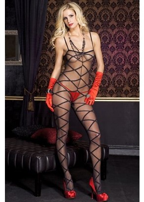 Music Legs Long sleeve lace dress with g-string 1111-BLACK