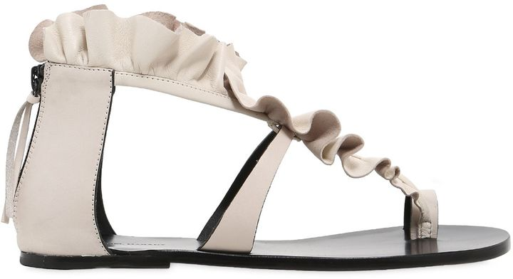 10mm Audrey Ruffled Leather Sandals