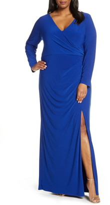 Vince Camuto Long Sleeve Ruched Knit Gown