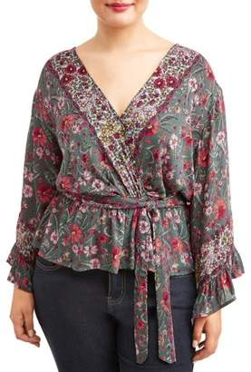 Romantic Gypsy Women's Plus Size Blouse With Tassel Tie Front Closure