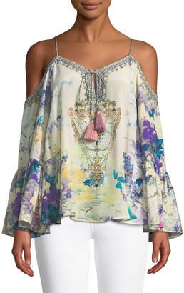 Camilla Printed Embellished Cold-Shoulder Silk Top