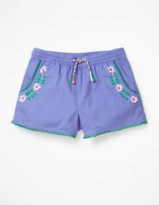 Embroidered Tie-Waist Shorts