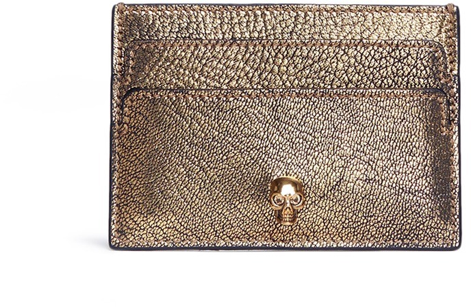 Alexander McQueen Alexander McQueen Skull metallic leather card holder