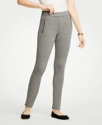 Ann Taylor Petite Houndstooth Zip Pocket Leggings