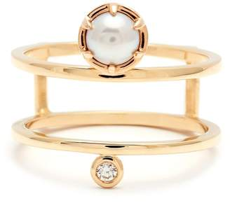 Anna Sheffield 'Reverse Attelage' Double Band Pearl & Diamond Ring