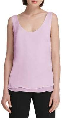 Donna Karan Satin-Trimmed Sleeveless Top