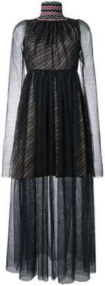 Katharine Hamnett beaded neck sheer dress