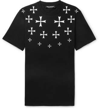 Neil Barrett Slim-Fit Printed Stretch Cotton-Jersey T-Shirt - Black