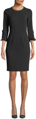 Donna Morgan 3/4-Sleeve Sheath Dress w/ Pearly Cuffs