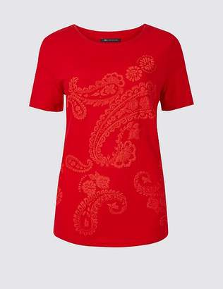 Marks and Spencer Pure Cotton Paisley Short Sleeve T-Shirt