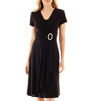 R & M Richards R&M Richards Short-Sleeve Faux-Wrap Dress