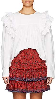 Etoile Isabel Marant Women's Matias Broderie-Trimmed Cotton Top - White