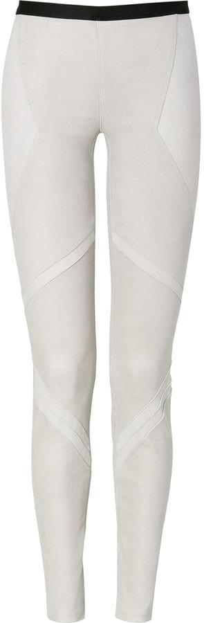Helmut Lang Chalk Patina Stretch Leather Leggings