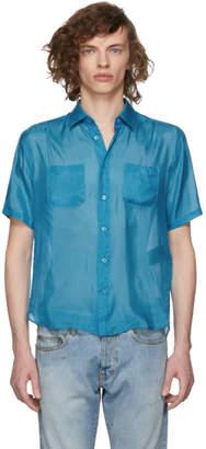 Saint Laurent Blue Short Sleeve Silk Shirt