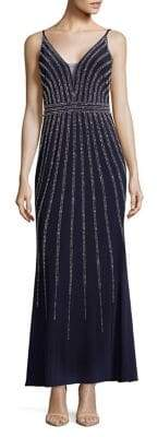 Xscape Evenings Petite Beaded V-Neck Gown