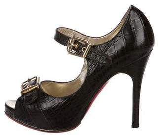 Luciano Padovan Embossed Mary Jane Pumps