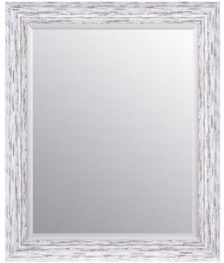 Gallery Solutions 24x30 Distressed White Scoop Framed Beveled Wall Accent Mirror