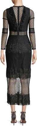 Alexis Elize Long-Sleeve Lace Midi Dress
