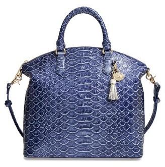 Brahmin Large Duxbury Croc Embossed Leather Satchel - Blue $315 thestylecure.com