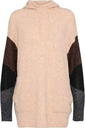 By Malene Birger Brunilde Metallic-Paneled Knitted Hoodie