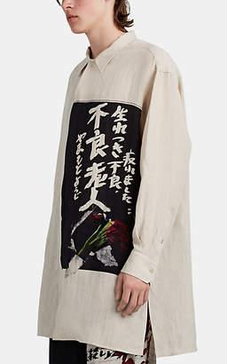 Yohji Yamamoto Men's Graphic Linen Oversized Shirt - Nudeflesh
