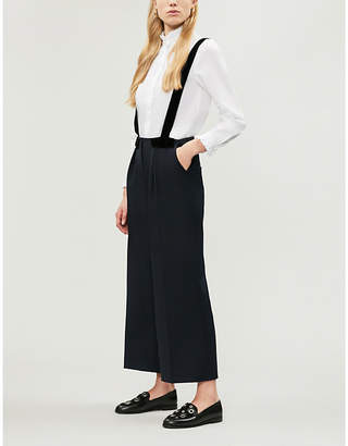 Claudie Pierlot Patine velvet-embellished high-rise wide-leg woven trousers