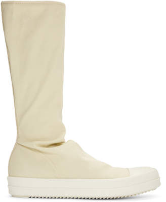 Rick Owens Beige and White Sock High-Top Sneakers