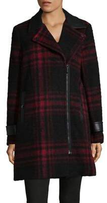 MICHAEL Michael Kors Faux Leather Trim Coat