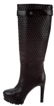 Belstaff Embossed Leather Knee-High Boots