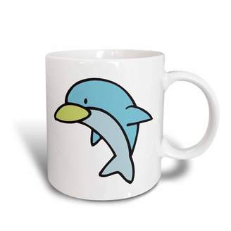 3dRose Cute Little Baby Blue Dolphin Animal Cartoon Design, Ceramic Mug, 11-ounce