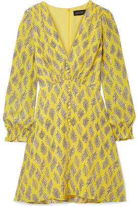 Saloni Eve Printed Silk Crepe De Chine Mini Dress - Yellow
