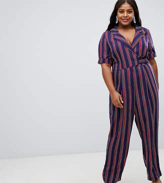 Asos Design DESIGN Curve wrap jumpsuit with self buckle in stripe