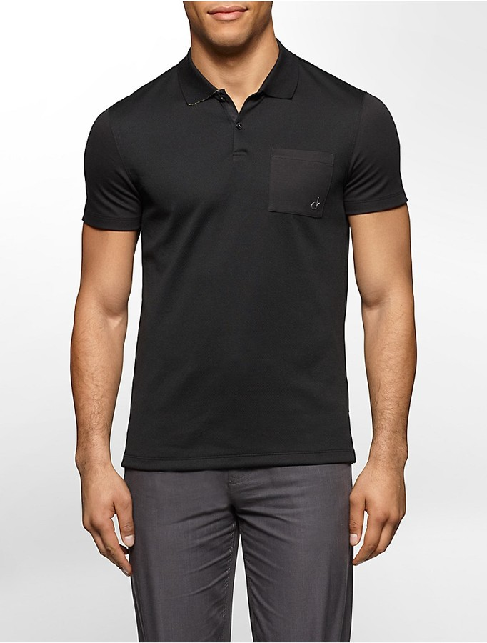 Ck One Slim Fit Liquid Cotton Mesh Polo Shirt