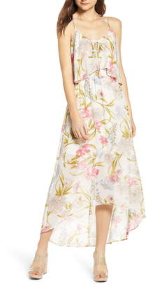 June & Hudson Floral High/Low Popover Dress