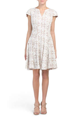 Laser Cut Out Fit And Flare Dress