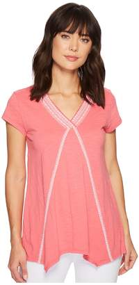 Mod-o-doc Slub Jersey Embroidered Short Sleeve T-Shirt w/ Pointed Hem Women's T Shirt
